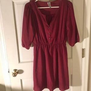 Magenta long sleeve dress